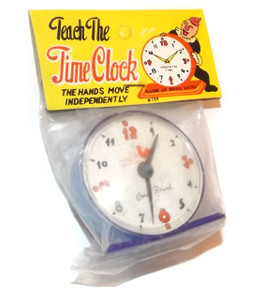 Vintage NOS 1960's Semi-Transparent Purple Plastic Teach the Time Clock Grocery Store Toy
