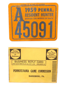 1959 Pennsylvania Resident Hunter Hunting License #A45091 Tag & Mail Card