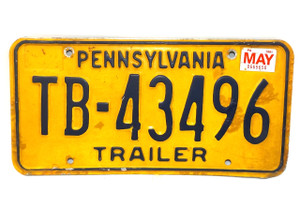 1981 Vintage Pennsylvania State Trailer License Plate  - Tag #TB-43496