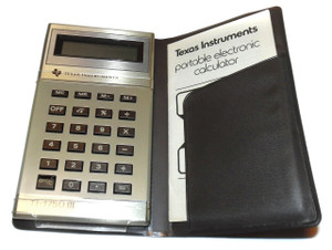 Vintage Texas Instruments TI-1750III Pocket Calculator w/ Manual & Case