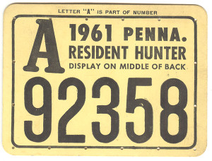 1961 PA Resident Hunter Hunting License #A92358