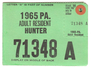 1965 Adult Resident Hunter PA Hunting License - #71348A