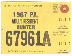 1967 Adult Resident Hunter PA Hunting License - #67961A