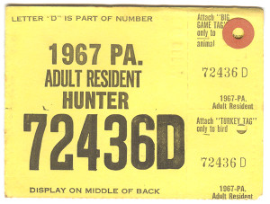 1967 Adult Resident Hunter PA Hunting License #72436D