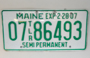 2007 Maine State Semi Permanent Trailer License Plate - Tag #0786493
