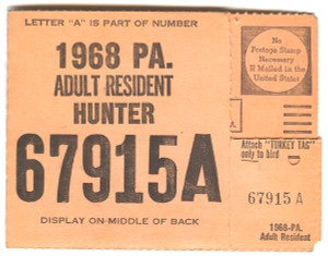 1968 Adult Resident Hunter PA Hunting License - #67915A