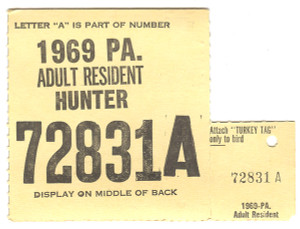 1969 Adult Resident Pennsylvania Hunting License - #72831A