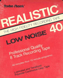 Realistic Low Noise 40 Minute Blank 8 Track Tape (Red Cartridge)
