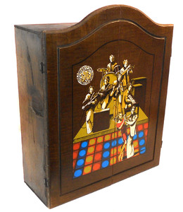 Great Vintage Wooden Disco Themed 8 Track Tape Holder Cabinet - Holds 45 Cartridges