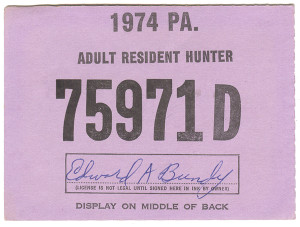 1974 Adult Resident Hunter PA Hunting License #75971D