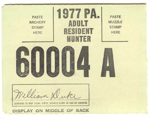 1977 Adult Resident Hunter PA Hunting License #60004A