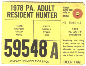 1978 Resident Adult Hunter PA Hunting License #59548A