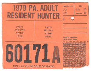 1979 Adult Resident Hunter PA Hunting License - #60171A