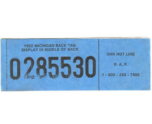 1982 Michigan Hunting License With Trout & Salmon Stamp