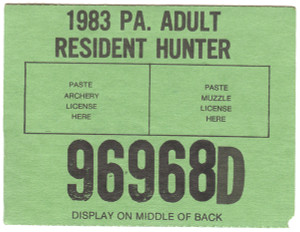 1983 Adult Resident Hunter PA Hunting License #96968D