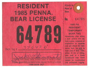 1985 PA Resident Bear Hunting License With Tag