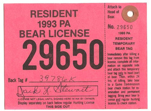 1993 PA Resident Bear Hunting License With Tag