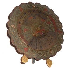 1973-1992 Brass 20 Year Perpetual Calendar Engraved & Enameled with Stand