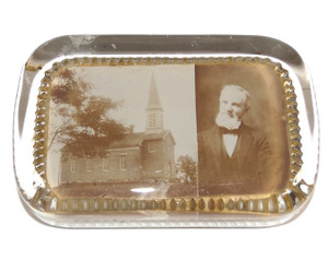 Antique Church & Pastor Photograph Glass Paperweight - Westfield, NY