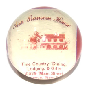 Vintage Asa Ransom House B&B Lucite Sphere Advertising Paperweight - Clarence, NY