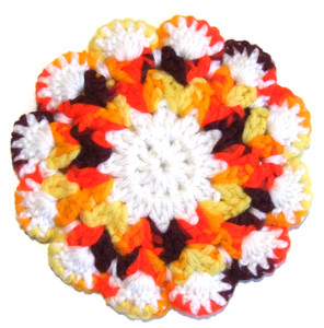 Autumnal Fall Colors Hand Crocheted Vintage Hot Pad Trivet