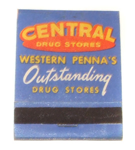 Central Drugs Stores Western Pennsylvania's Outstanding Vintage Matchbook