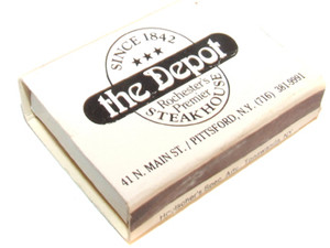 The Depot Steakhouse Restaurant Advertising Wooden Match Box - Pittsford, NY