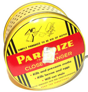 1947 Paradize Products Mothball Moth Poison Tin Can Close Hanger