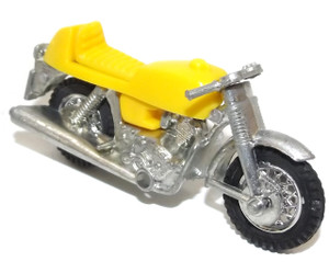 Vintage NOS Diecast and Yellow Plastic Retro Motorcycle Toy - Hong Kong