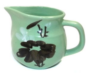 Vintage Jadite Green Asian Style Art Pottery Creamer Pitcher w/ Floral Decoration