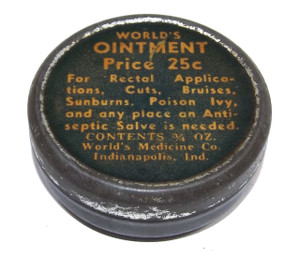 Scarce Vintage World's Ointment Medicine Salve Tin Can - Indianapolis, IN