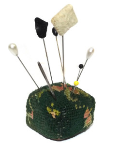 Antique Victorian Handmade Needlepoint Pincushion with Assorted Stick Pins