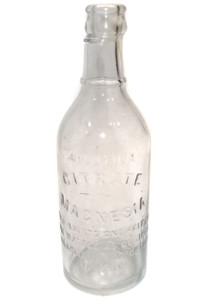 Antique Deformed Glass Citrate Magnesia Medicine Bottle