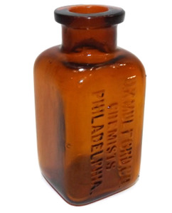 Antique Amber Glass H.K. Mulford Co. Chemists Medicine Drug Bottle Philadelphia