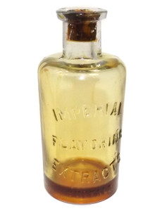 Scarce Antique Glass Cork Top Imperial Flavoring Extracts Embossed Bottle