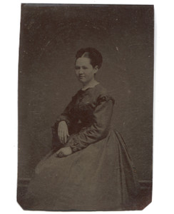 Antique 1/6 Plate Tintype Photograph of Seated Victorian Woman w/ Large Hair Bun