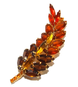 Vintage Gold Tone Autumn Leaf Brooch with Fall Colored Prong Set Cut Crystals