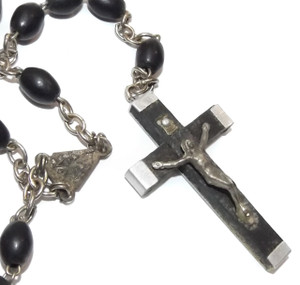 Vintage Italian Catholic Rosary Chain w/ Wood Crucifix Prayer Beads