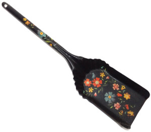 Vintage Metal Ash Shovel Fireplace Tool w/ Hand-Painted Cute Tole Paint Flowers