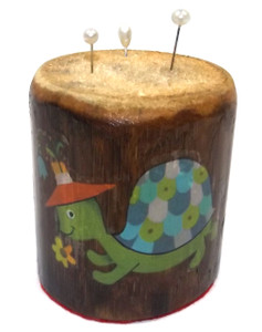 Retro Vintage Bamboo Pin Cushion with Turtle and Bunny Rabbit Graphics