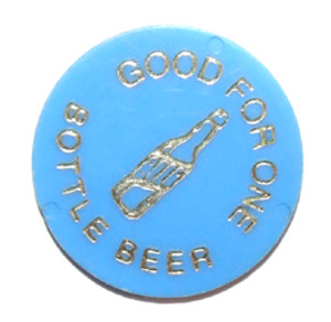 Blue Plastic Rolfe Sportsmens Club Beer Chip Drink Token - Johnsonburg, PA