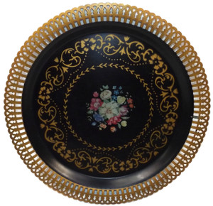Vintage Mid-Century Metal Stenciled Round Serving Tray with Gilt Pierced Rim
