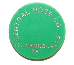 Central Hose Co. #1 Fireman's Club Green #37 Beer Chip Drink Token - Johnsonburg, PA