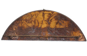 Antique Flemish Art Pyrography Wooden Wall Mount Hand Towel Rack