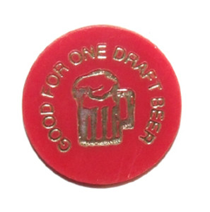 Red Plastic Vintage Rolfe Sportsmens Club Draft Beer Chip Token - Johnsonburg, PA