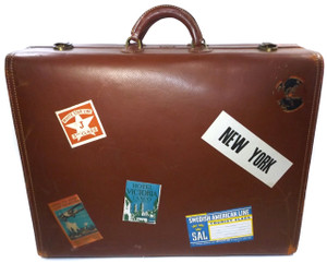 Vintage Hartmann Knocabout Leather Suitcase Luggage with Travel Stickers Decals