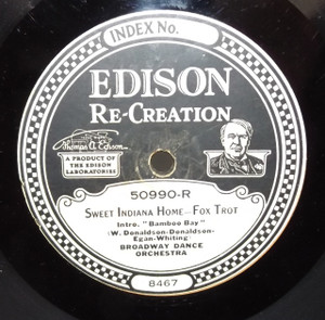 Green Bros. Novelty Band: Coo-Coo /  Broadway Dance Orchestra: Sweet Indiana Home - #50990 Edison Diamond Disc Record