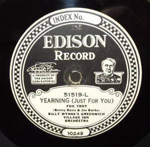 Billy Wynne's Greenwich Village Inn Orchestra: Titina / Yearning (Just for You) - #51519 Edison Diamond Disc Record