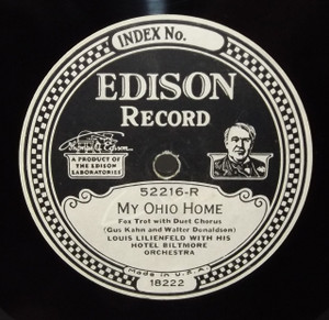 Louis Lilienfeld & Hotel Biltmore Orchestra: The Sunrise / My Ohio Home - #52216 Edison Diamond Disc Record