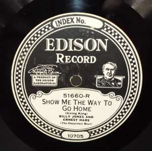 Billy Jones & Ernest Hare: I Would Rather Be Alone in the South / Show Me the Way to Go Home - #51660 Edison Diamond Disc